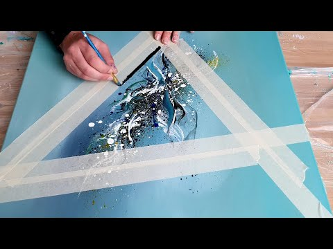 NEW Abstract Acrylic Painting Demo - Shadow Triangle - How to paint easy