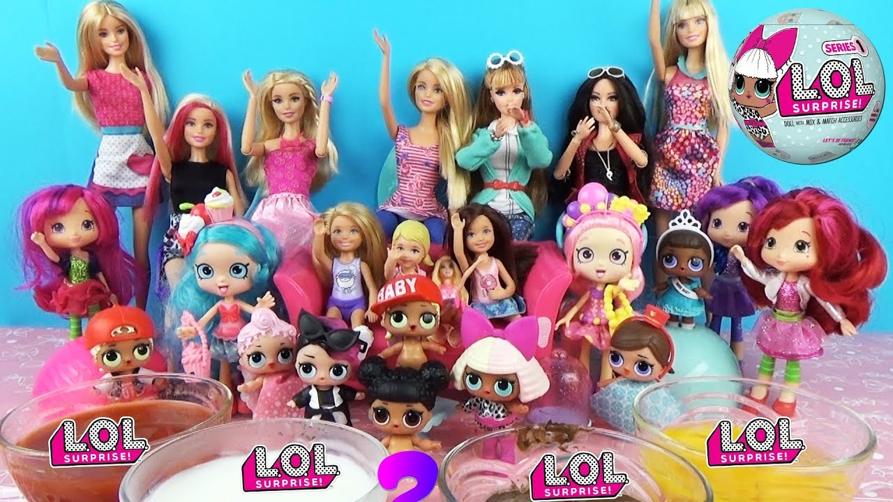 Играем со всеми куклами ЛОЛ, Барби и Шоппис! Кто победит ...