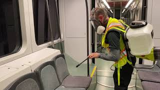 Sanitizing light rail train with fogging
