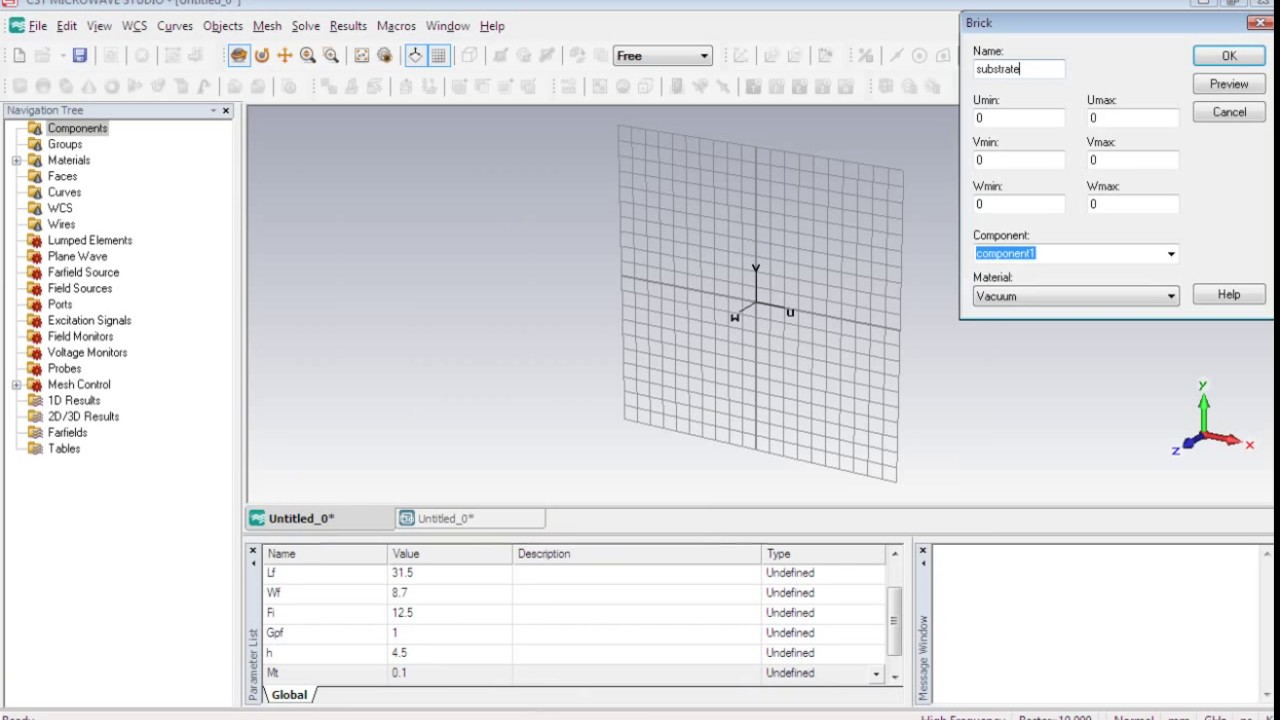 Cst Mws Tutorial 03 Geometrical Parameterized Design Of Microstrip Patch Antenna