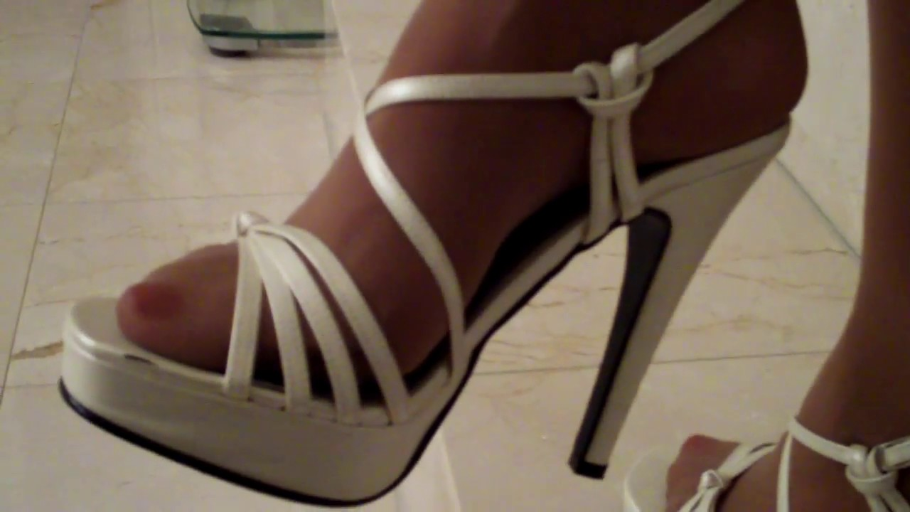 Pantyhose Feet And Toes With White Slingback High Heels