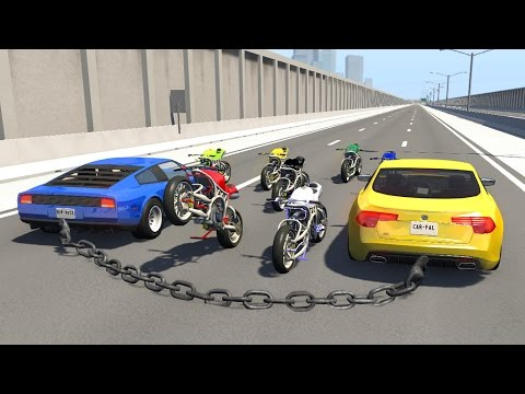 Beamng drive - Chained Cars Crashing riding Motorbikes