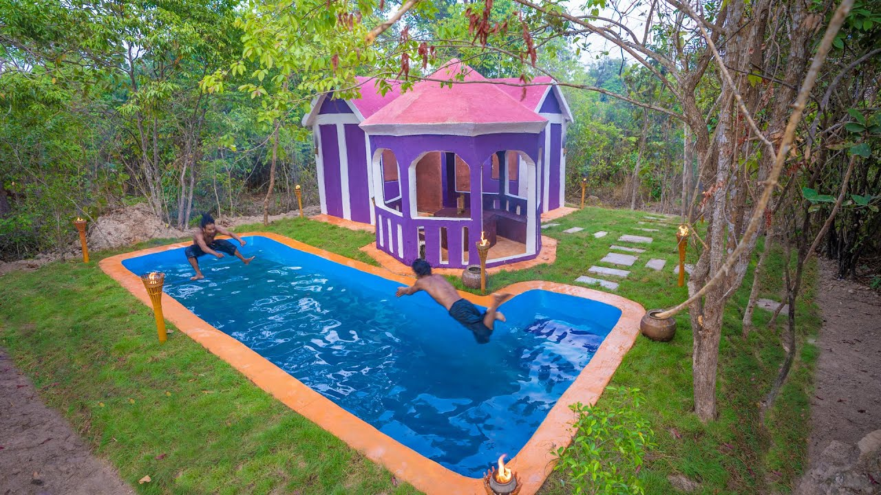 Build The Most Amazing Outdoor Sitting Area and Swimming Pool for My Villa; Bushcraft Skills
