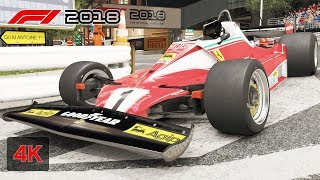 F1 2018 Gameplay Onboard Race at NIGHT MONACO - Ferrari 312 T2 1976 - From 9 to 3rd Place [4K PC]