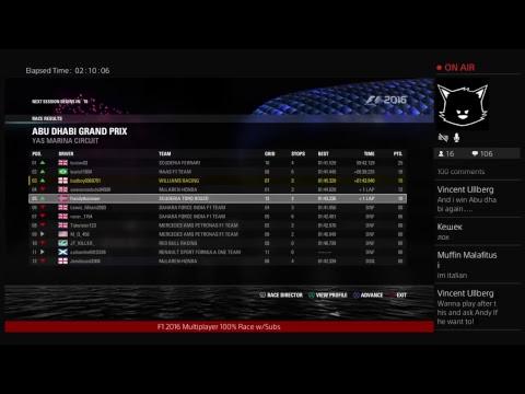 F1 2016 Multiplayer 100% Abu Dhabi Race w/Subs