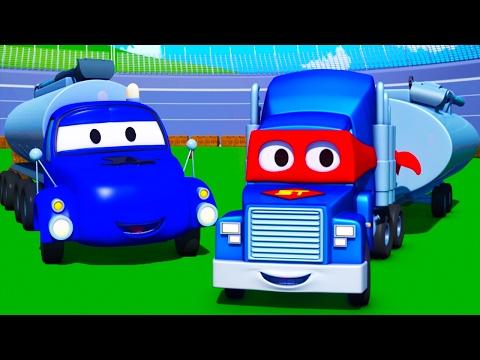 Carl o Super Caminhão e o Caminhão Tanque na Cidade do Carro   Desenho animado para crianças