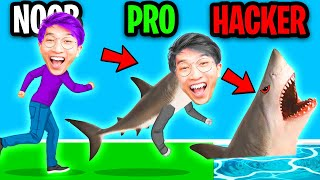 NOOB vs PRO vs HACKER In ANIMAL TRANSFORM RACE! (ALL LEVELS & ALL ANIMALS! *THICC SHARK*!?)
