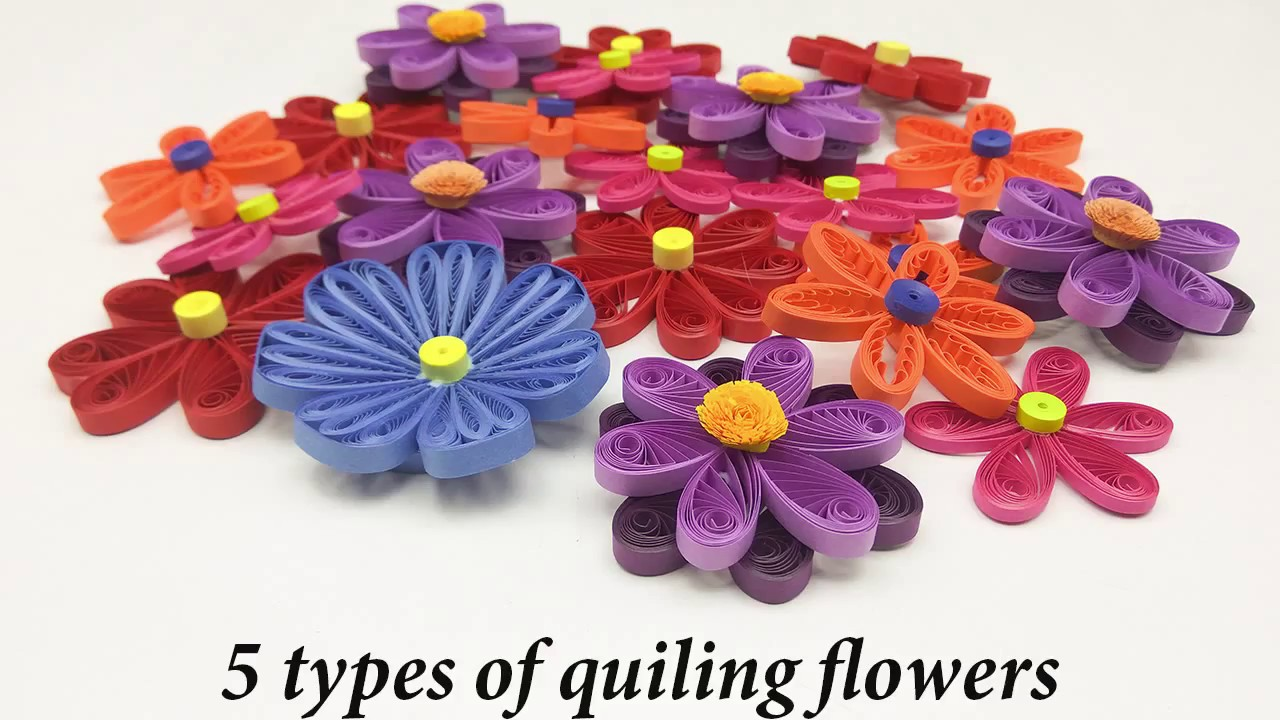 5 types of quilled flowers quilling flowers step by step rh youtube com