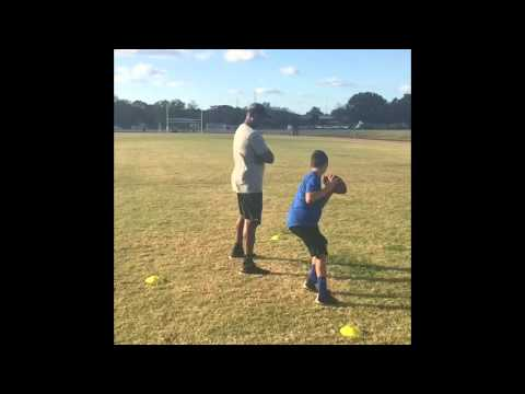 10 year old working with NFL pro Bowler Jeff Blake