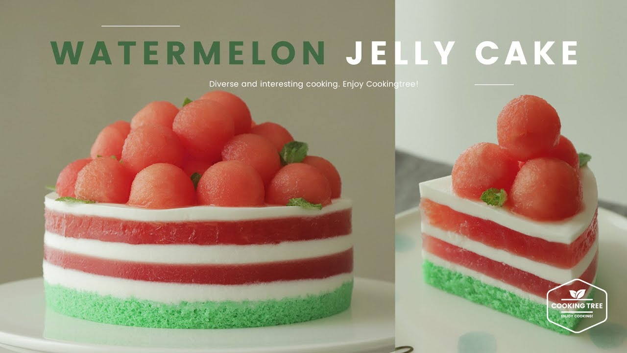 수박 젤리 케이크 만들기 ๑ ڡ ๑ : Watermelon Jelly Cake Recipe