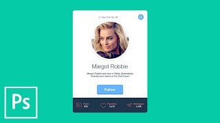 FLAT DESIGN: Create Profile Card User Interface with Photoshop CC | Educational