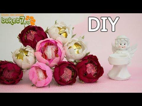 Пион с конфетой из гофрированной бумаги Мастер-Класс. Цветы из конфет. DIY Buket7ruTV
