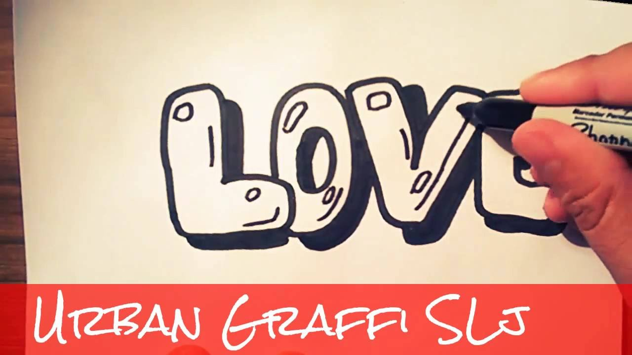 How to draw love in bubble letters como dibujar love en graffiti