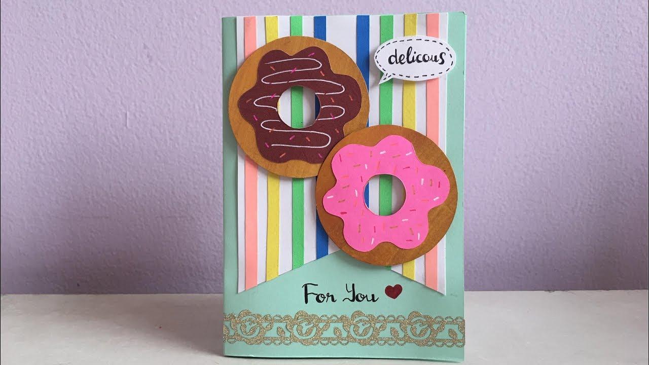 DIY Donut Card – Birthday Card – Greeting Card – Hướng dẫn làm thiệp Donut dễ thương