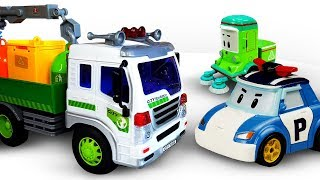 Robocar Poli & a Garbage Truck for Kids: Toy Police Car Poli & Ambulance Amber Save the Toy Truck