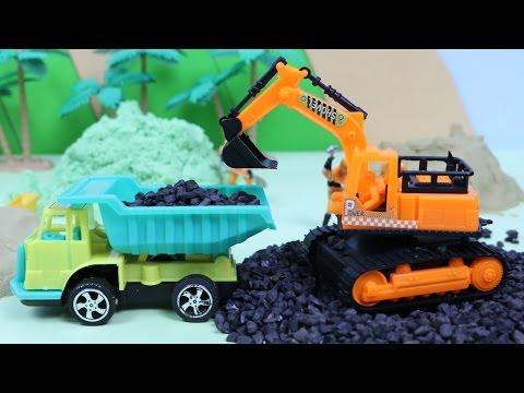 รถแมคโคร รถดั้ม รถตักดิน รถบรรทุก รถเครน รถบดดิน รถของเล่น เล่นรถก่อสร้าง ทรายมหัศจรรย์