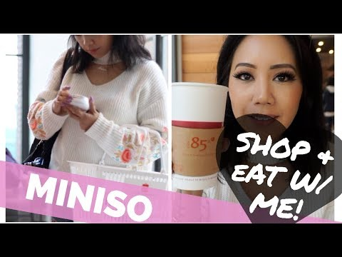 MINISO SHOP WITH ME & EAT W/ME! JAPANESE STORE TOUR & HAUL | 85 DEGREES BAKERY