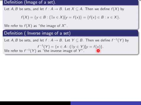 Section 4.5, Part 1 Image And Inverse Image Of Sets