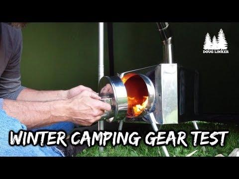 Backyard Hot Tent Gear Testing For Winter Camping -Poshehonka Stove and Tschum Lavvu