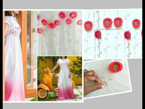 Turkish Stitch  Embroidery Flower with beads Designing  Long Gown/Churidar/Blouses-Aari/Maggam work