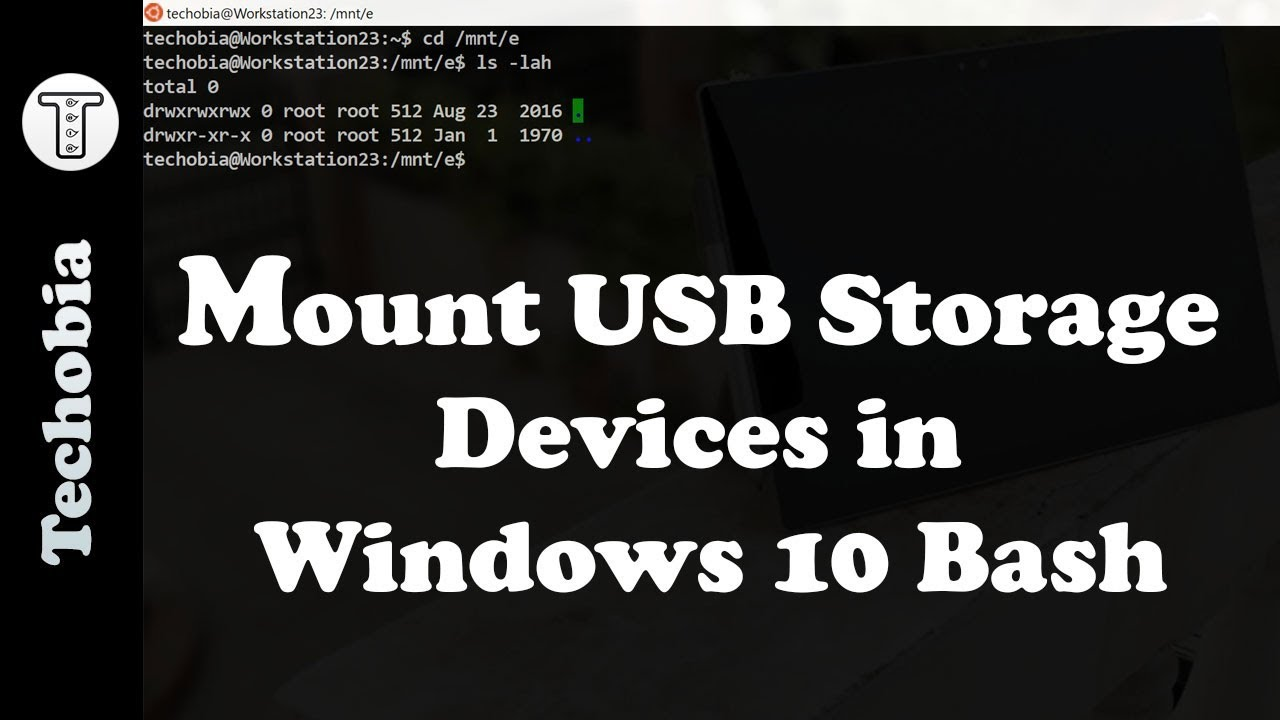 Mounting USB flash storage devices inside windows inbuilt linux bash