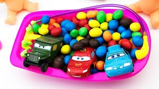 Learn Colors For Children Bath Time Disney Cars in M & M Nursery Rhymes Songs