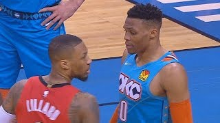 Russell Westbrook Taunts Damian Lillard With Rock A Baby Celebration After Schooling & Blocking Him!