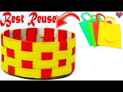 How To Make A Mini Basket With Waste Materials || DIY Paper Organizer || DIY Fabric Bags Storage
