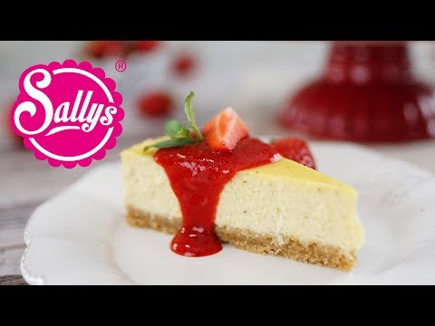 New York Cheesecake mit Erdbeersoße / extra cremig