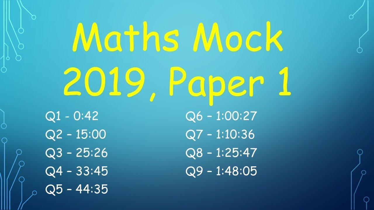 Leaving Cert Higher Level Maths Mock 2019 Paper 1 (DEB)