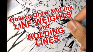 How to ART Draw/Ink Line weights and Holding lines. From Marvel Comics X-Men Blue