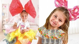 This Kid Sofia makes a new dress for party Cool DIY Ideas