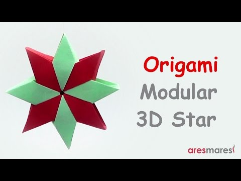 Origami Eight Pointed 3D Star (easy - modular)