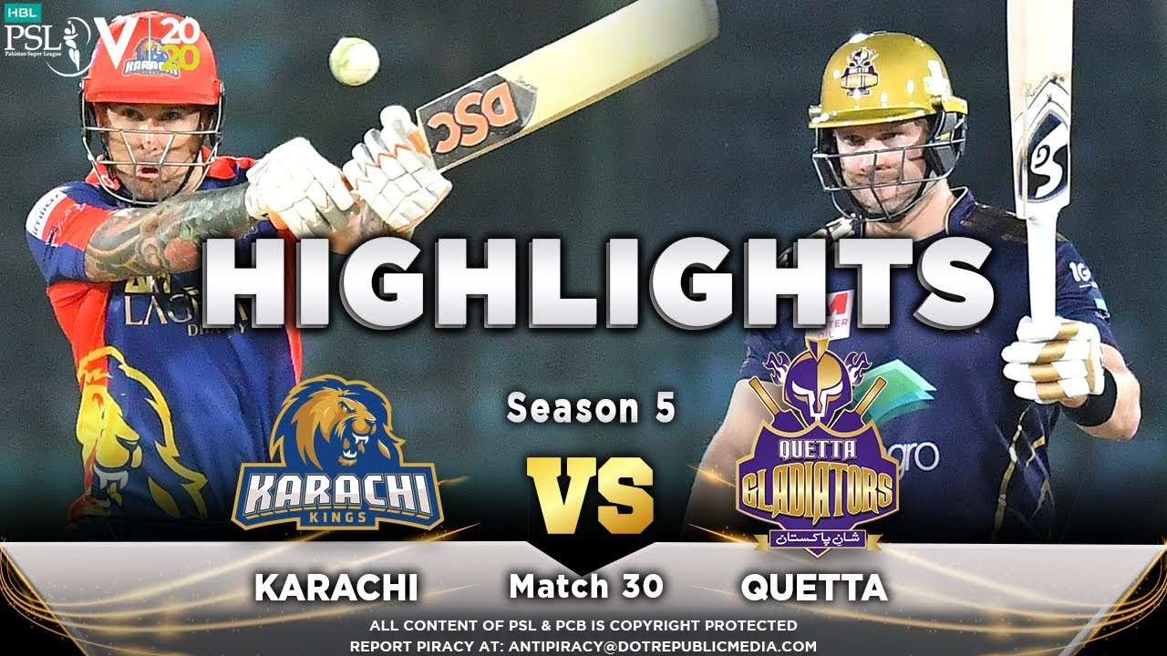Karachi Kings vs Quetta Gladiators | Full Match Highlights | Match 30 | 15 March | HBL PSL 2020