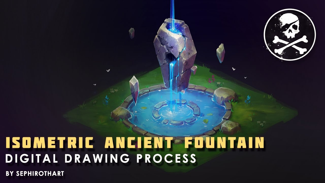 Isometric Ancient Fountain  Drawing Process from Twitch Stream Channel | by  Sephiroth Art