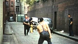 Lunch time Cricket in Ridgway Place Melbourne 1950s