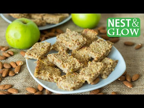Healthy Breakfast Bar Recipe 3-Ingredients Oat, Apple and Almond