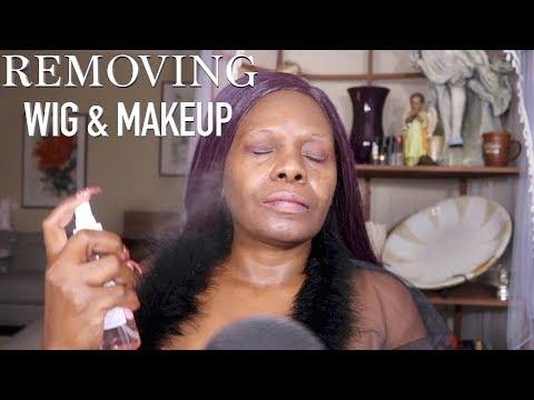Removing Wig Makeup ASMR Night Time Routine - 동영상