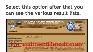 Check Your RRB Bhopal Result 2015 & Cut Off Merit List Online 2017 Video