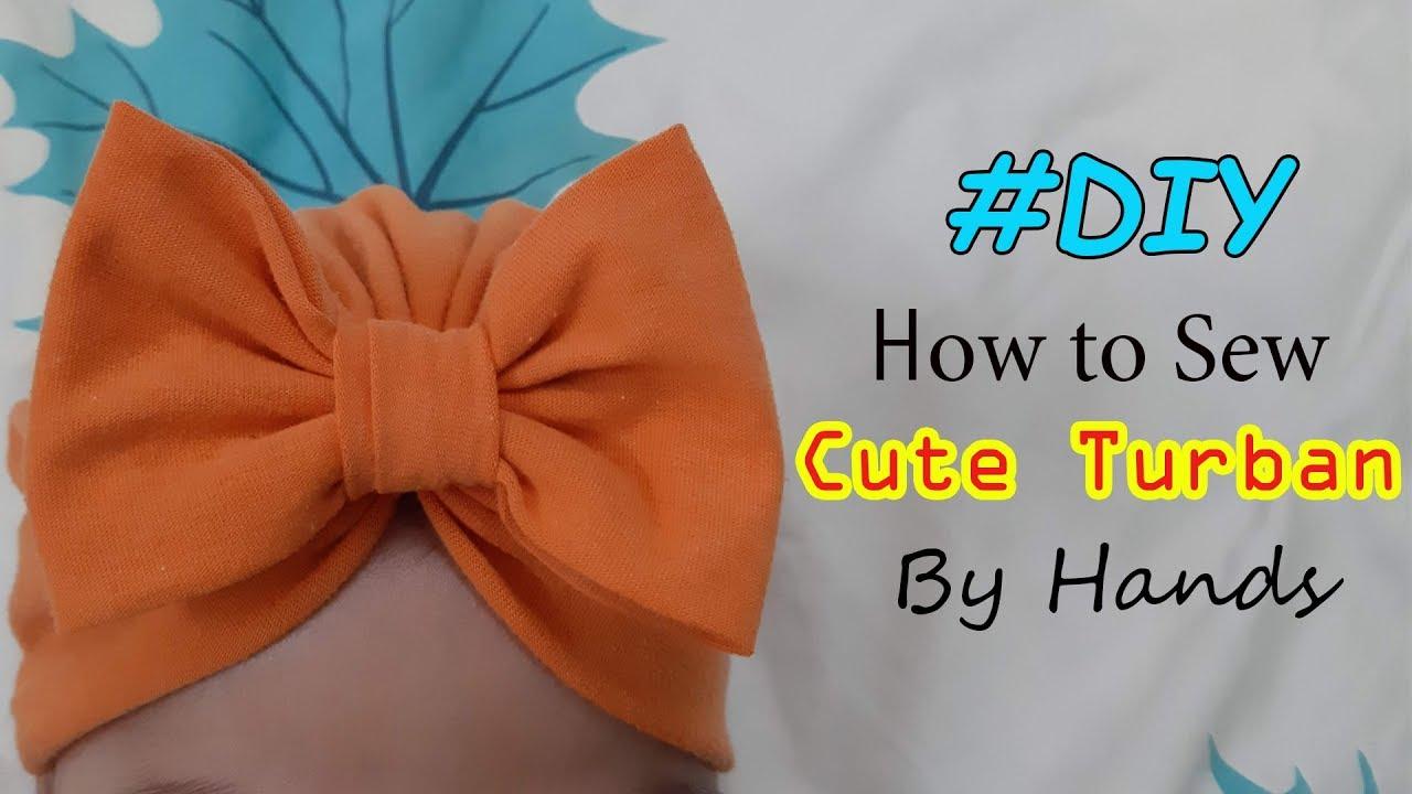 May Tay đơn giản Turban có nơ từ áo thun cũ   Sew a cute turban from old t-shirt   Trinh DIY