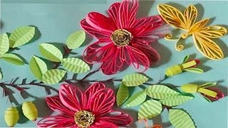 Paper Quilling |How to make beautiful Quilled Card with pink flowers along butterflies