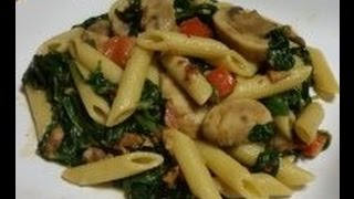 Penne Pasta With Spinach and Mushrooms