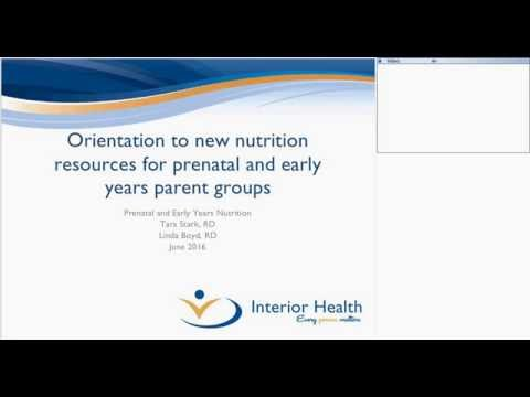 Orientation to new nutrition activities for prenatal and early years programs
