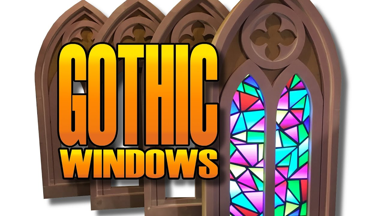 Gothic Stained Glass Windows With Video Screen