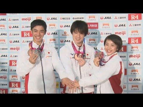 内村選手「演技できて幸せ」 世界体操代表が帰国記者会見
