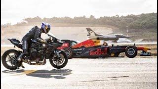 فيديو.. بطل العالم في سباق الدراجات النارية يخوض منافسة مع «F 16»