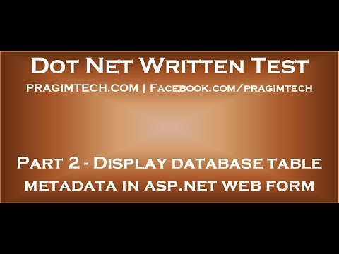 Part 2   Display database table metadata in asp net web application