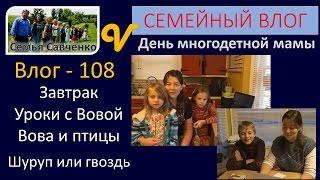 #Влог 108 День #многодетной мамы, завтрак, Уроки, Птицы Вовы семья Савченко