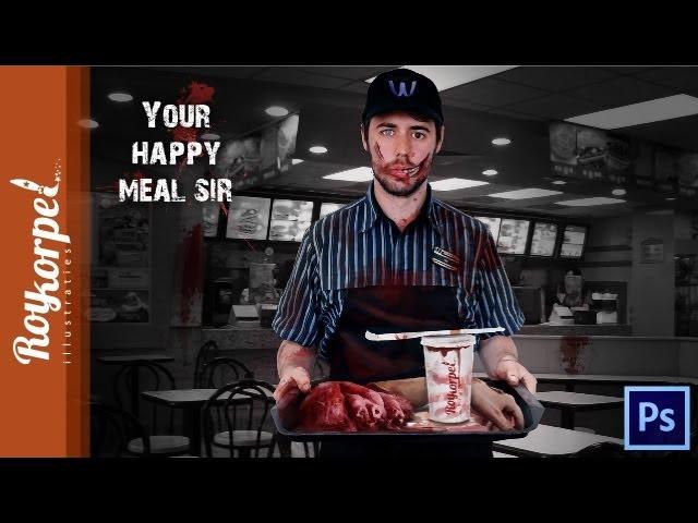 Halloween Happy meal - Photoshop speedart - fun project - time-lapse