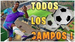 MAPA De TODOS LOS CAMPOS DE FUTBOL EN FORTNITE - DESAFIO GOLES EN CAMPOS DIFERENTES SEMANA 7